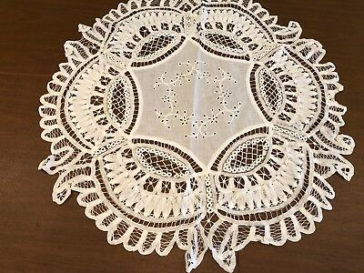 Antique Victorian Linen Battenburg Drawn Work Lace Tatting Table Doily Runner