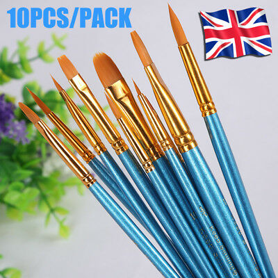 Professional Face Painting Brushes Glitters Round Flat Tip Art Paint Brushes Set
