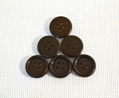10 pcs Dark Coffee Wooden Buttons Sewing Scrapbooking 4 Holes Round 18mm art.356