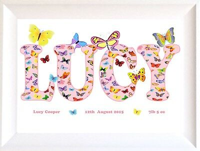 Girl's Christening Gift Name plaque Personalised Birthday Framed Butterflies