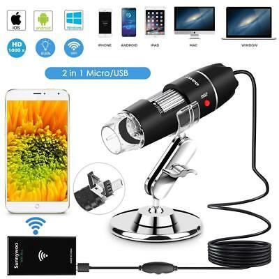 Wifi USB Microscope 1000x Digital Handheld Endoscope 8 LED with 2 in 1 Micro...