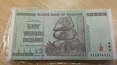 ZIMBABWE Z$50 Trillion Dollar Banknote AA/2008 UNC Sequential