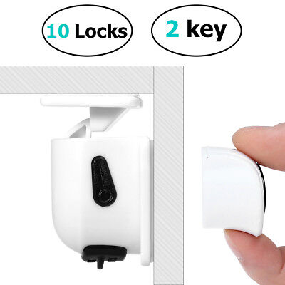 10PCS Magnetic Cabinet Drawer Cupboard Locks for Baby Kids Safety & 2pcs Key
