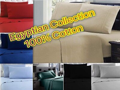 Winter Flannel 100% Cotton Sheet Set - Egyptian Collection - 4 Piece Bed Set