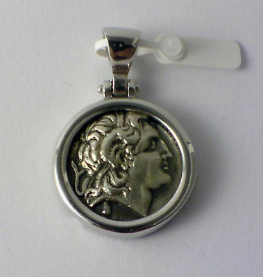 ALEXANDER THE GREAT BIG PENDANT GREEK COIN solid sterling silver 925 code 1202