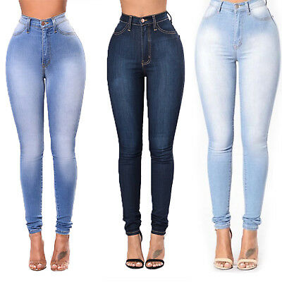 Women High Waisted Denim Skinny Slim Jeans Plain Stretch Pencil Pants Trousers