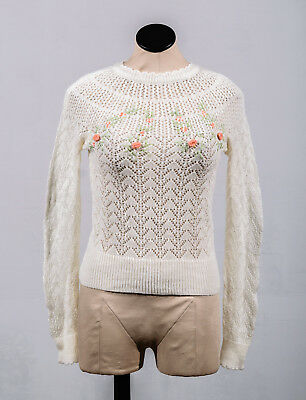 VTG 50s 60s Floral Embroidered Ivory Knit Long Sleeve Pullover Fitted Sweater M