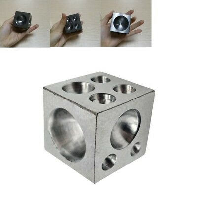 """Stainless Steel Jewelers Dapping Block With 18 Round Cavities 2"""" Polished"""