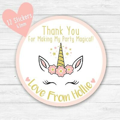 personalised unicorn party bag stickers round labels thank you sweet