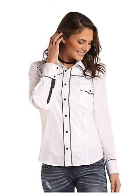 077f510d Panhandle Whit Label Ladies Long Sleeve Shirt White with Black Satin Piping