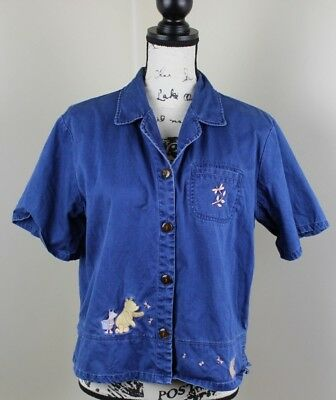 95dd68b866b Disney Store Button Down Top Womens Large Blue Denim Embroidered Winnie the  Pooh
