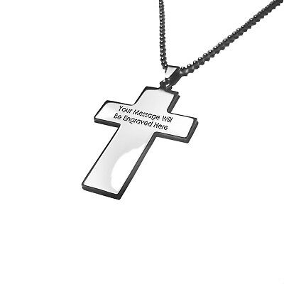 Personalized Custom Engraved Stainless Steel Cross Necklace