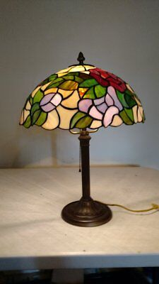 Antique Lamp Base with Vintage Stained Glass Shade