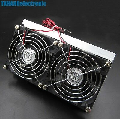 Thermoelectric Peltier Refrigeration Cooling System Kit Cooler Double Fan DIY