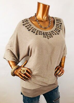 JM Collection XL NWT Top Lite Sweater 3/4 Sl Embellished Metallic Champagne