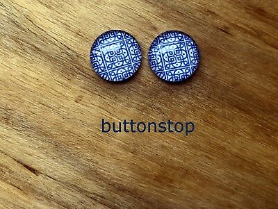 2 x 12mm glass dome cabochons - blue & white mosaic