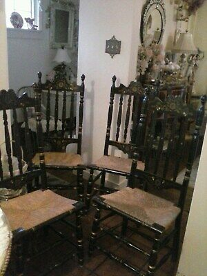 Ethan Allen Ladder Back Black Stenciled Chairs Rush Seats, set of 4 chairs