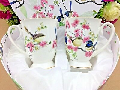 2 x Fine Bone China Blue Wren Bird 280ml Mug Set In Heart Shape Gift Coffee Tea