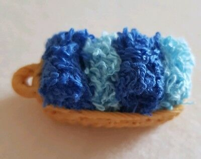 Miniature dolls house accessories Basket of Folded Towels 1:12th scale