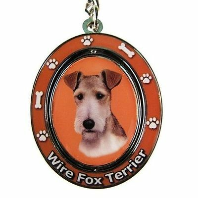 Wire Fox Terrier Dog Spinning Key Chain Fob