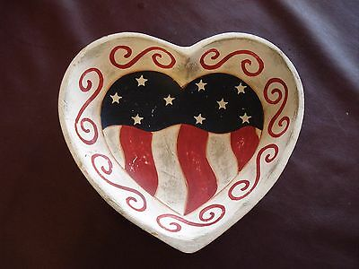 Patriotic Red, White, & Blue Hand Painted Heart Shaped Wood Bowl