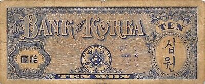 Korea 10 Won ND. 1953 P 13 Block { 20 } Circulated Banknote AS1018