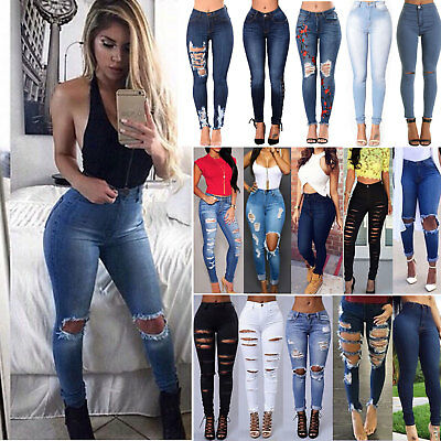 Women Ripped Frayed Distressed Skinny High Waisted Denim Pants Jeans Trousers US