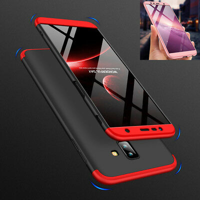For Samsung Galaxy J4 Plus 2018 Case 3 in 1 Full Hard Back Cover +Tempered glass