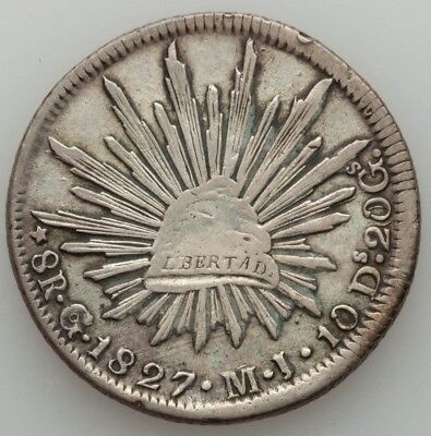 ☆☆☆ Extremely Rare 1827 Go Mj 8 Reales - Vf ☆☆☆