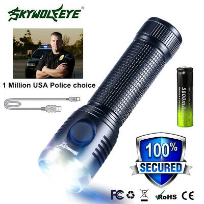 Mini USB Rechargeable T6 Outdoor Military LED Flashlight Torch Lamp 18650