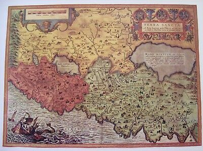 Antique Petro Laicstein Map of the Holy Land by Christiano Schrot Published 1572
