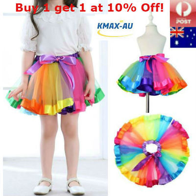 Girls Rainbow Dance Tutu Skirt Ballet Costume Petticoat Dress Kids Princess