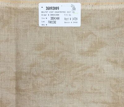 Zweigart 32 count linen cross stitch embroidery Vintage Country Mocha distressed