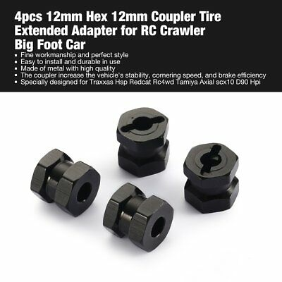 4pcs 12mm Hex 12mm Coupler Tire Extended Adapter for RC Crawler Big Foot Car FT