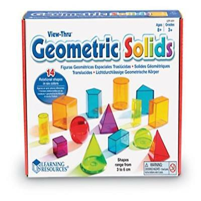 ❤ Learning Resources View-Thru Geometric Solids 14Pcs ❤ New