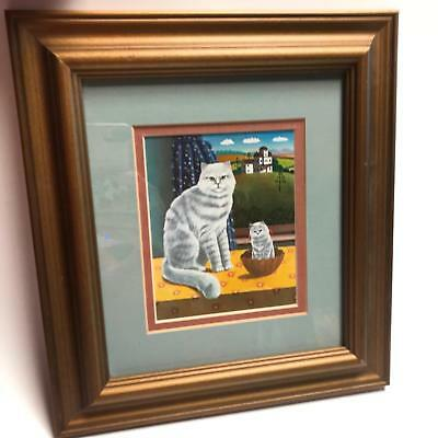 Cat Kitten Picture Wood Frame Matted Country Farmhouse Style Wall Art Decor