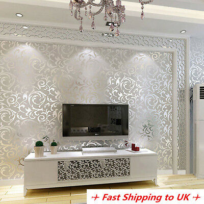 10m Silver Wallpaper Roll Modern Luxury Damask Embossed Bedroom Home Wall Decor
