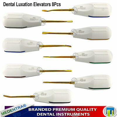 MEDENTRA® Golden Color Coated Luxating PDL Root Elevators Dental Surgical 8pcs