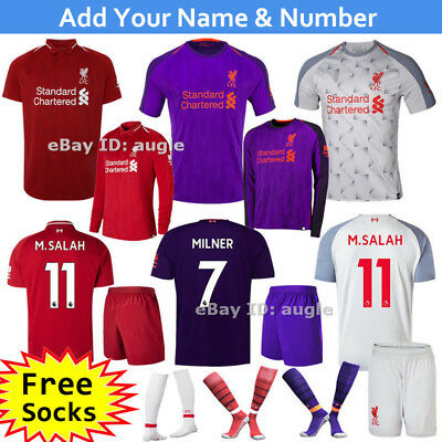 2019 Home Red/Away Purple White Football Kit Club Jersey Outfit 3-14 years Kids
