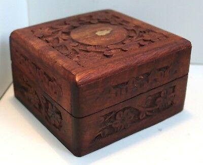 Vintage Hand Carved Wooden Box / Jewellery Trinket Antique Inlaid Chest / 11