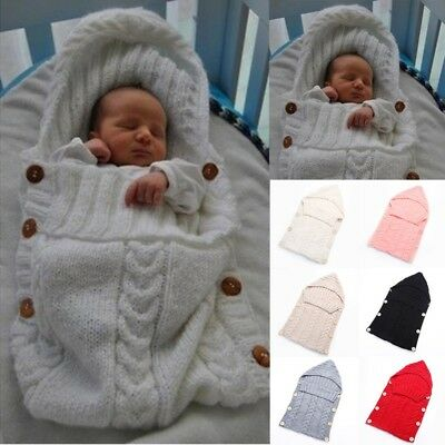 Newborn Baby Knitted Thermal Warm Blanket Hooded Swaddle Soft Sleeping Bag Wrap