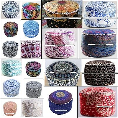 Ottoman Round Ombre Mandala Cover Beautiful Design Footstool Pouf Cover Indian