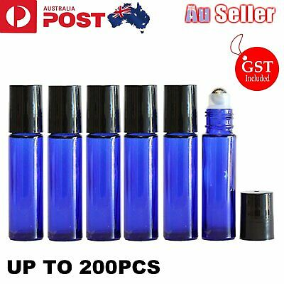 UP 200x 10ml Roller Bottles Blue THICK Glass Steel Roll On Ball For Essential Oi