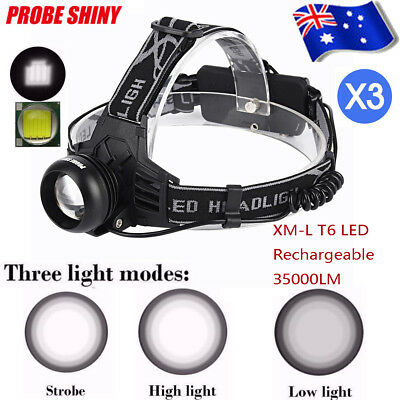 3X 35000LM LED Headlamp Rechargeable Headlight XML T6 Head Torch light lamp AU