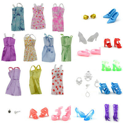 Set of 30 Pieces Barbie Doll Dresses Shoes Hangers Clothes Cute Toys Gift Props