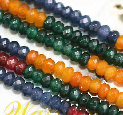 New 2x4mm Faceted Rondelle Multicolor Gemstone jade Beads Strand 15""