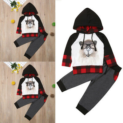 2pcs Toddler Kids Baby Boys Girls Squirrel Outfits Clothes Set T-shirt Tops+Pant