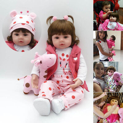 "22"" inch Baby Reborn Doll Vinyl Silicon Lifelike Baby Toddler Girl Kid Reborn UK"