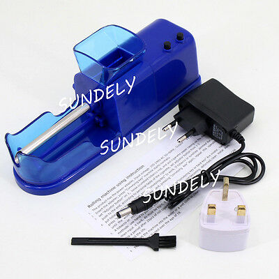 DIY Electric Automatic Cigarette Roll Machine Tobacco Injector Make Roller Blue