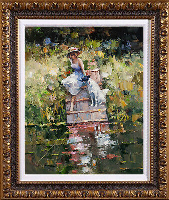"""Original Oil Painting art Impressionism Knife girl and dog on canvas 20""""x24"""""""